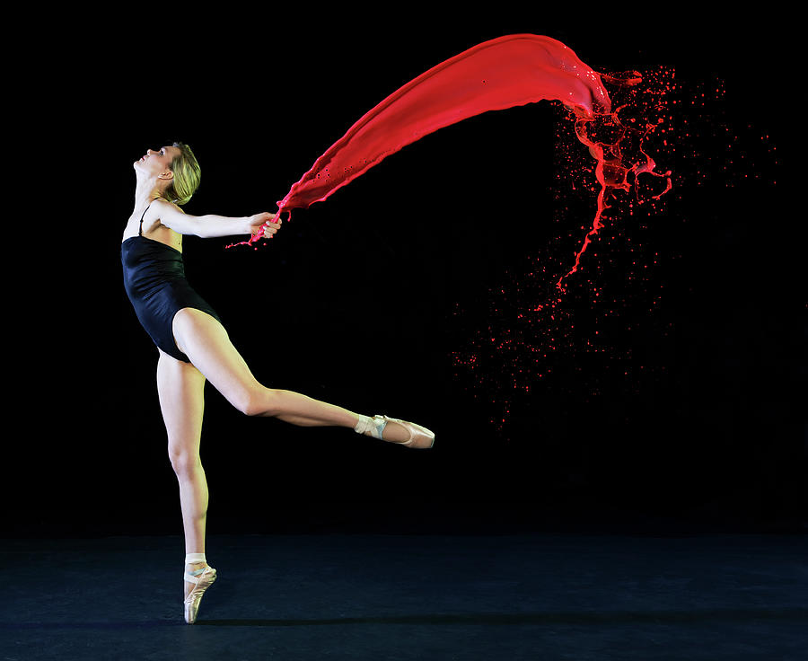 Ballet Dancer Dancing With Red Paint Photograph by Tara Moore
