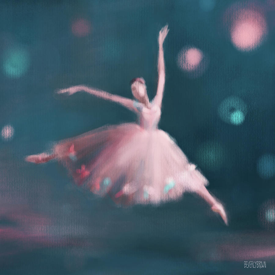 Ballerina Painting - Ballet Dancer Pink and Peacock Blue by Beverly Brown