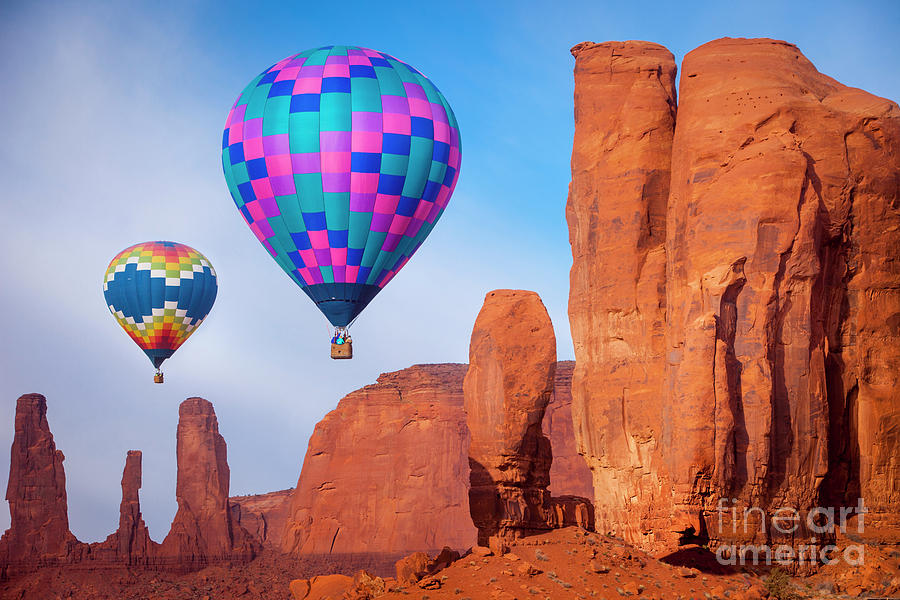 3 Sisters Photograph - Balloon festival in Monument Valley by Brian Jannsen