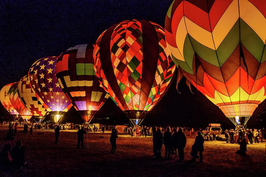 Hot Air Balloons Photograph - Balloon Nights by Robin Mayoff