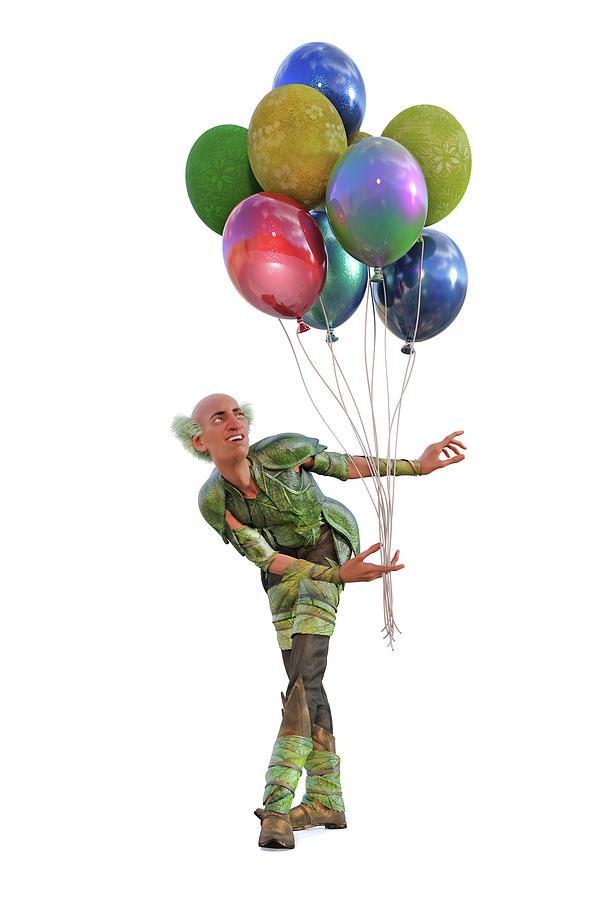 Balloon Digital Art - Balloons And Happy Guy by Betsy Knapp