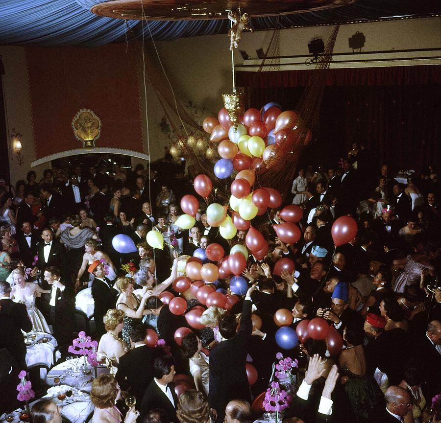 Balloons Dropping On Guests During New Y Photograph by Loomis Dean