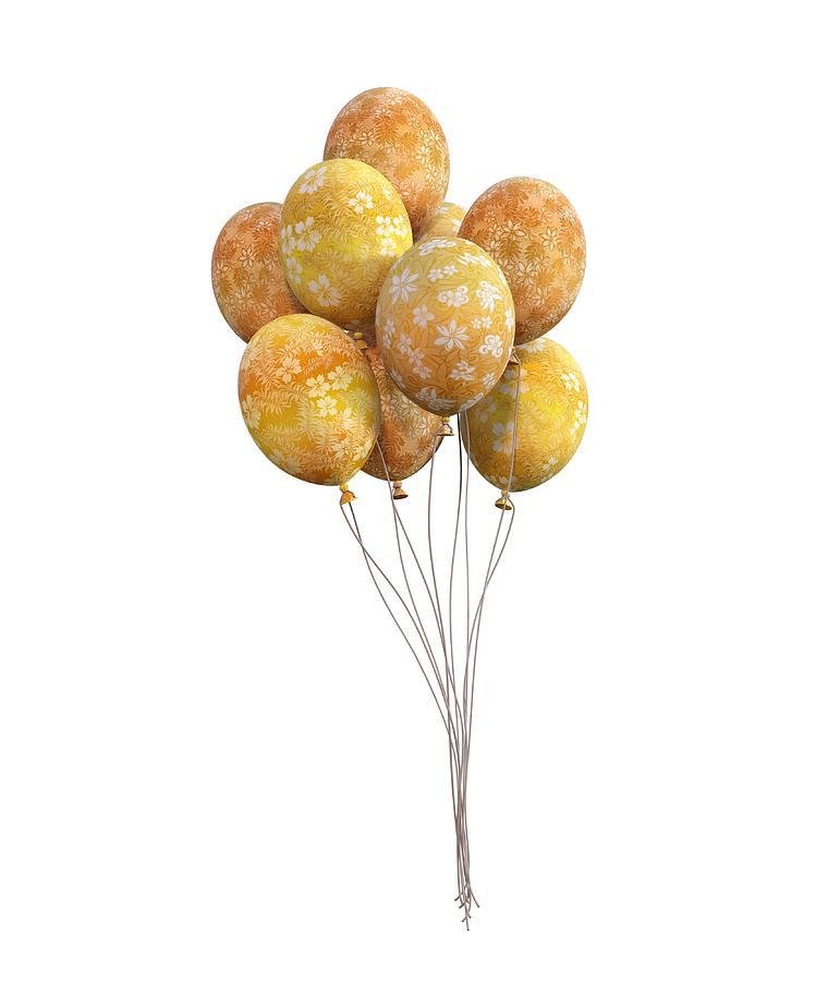 Balloon Digital Art - Balloons Golden by Betsy Knapp