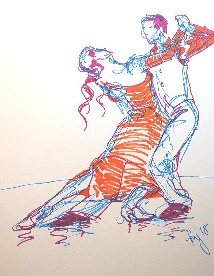 ballroom dancing three colour sharpie drawing by Mike Jory