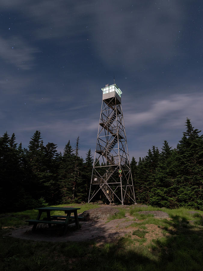 Balsam Lake Mountain Firetower Moonlight by Brad Wenskoski