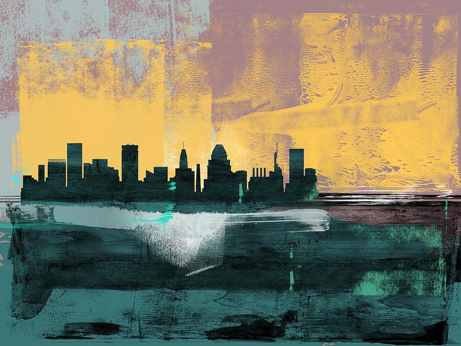 Baltimore Mixed Media - Baltimore Abstract Skyline I by Naxart Studio