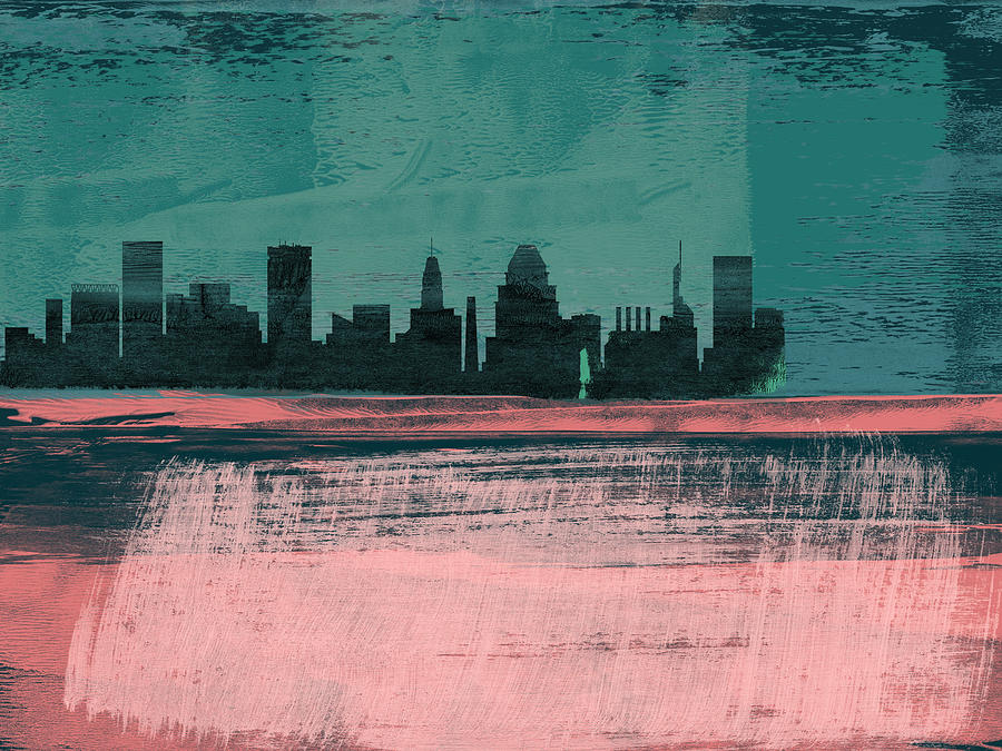 Baltimore Mixed Media - Baltimore Abstract Skyline II by Naxart Studio