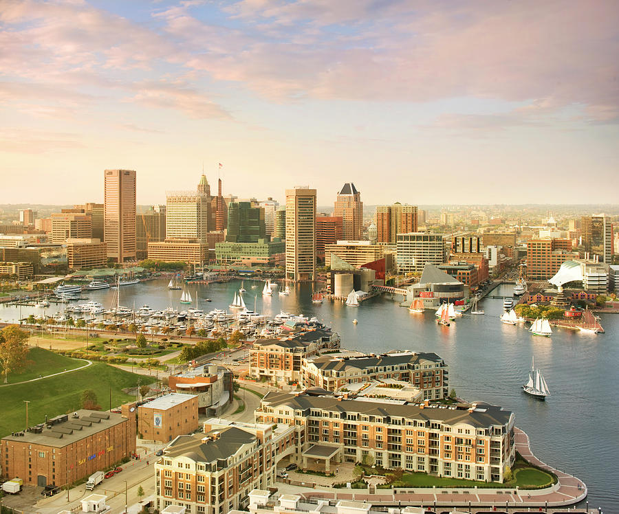 Baltimore Skyline And Inner Harbor With Photograph by Greg Pease