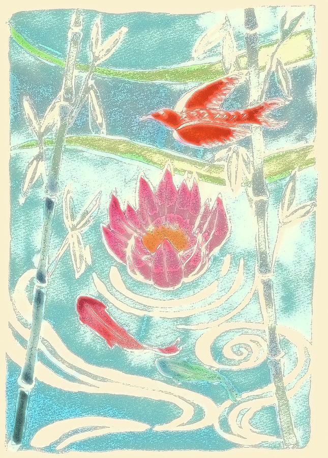 Watercolor Painting Photograph - Bamboo & Waterlily Illustration by Kana hata