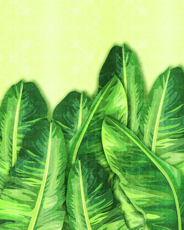 Banana Leaf 2 - Banana Leaf Pattern 2 - Tropical Leaf Print - Botanical Art - Green Mixed Media