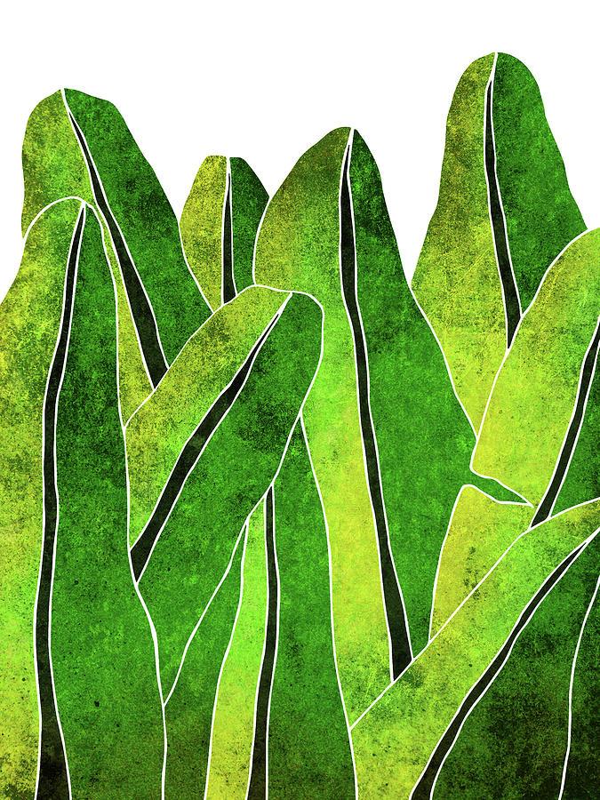 Banana Leaf - Green, Yellow, Olive- Tropical Leaf Print - Botanical Art - Modern Abstract Mixed Media