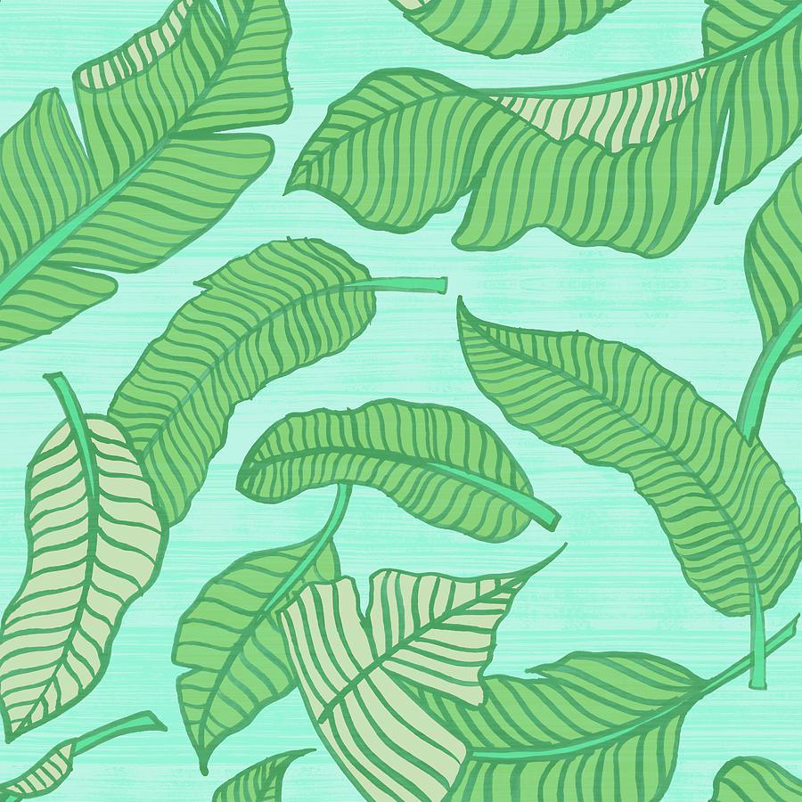 Banana Leaf Pattern Blue by Jen Montgomery