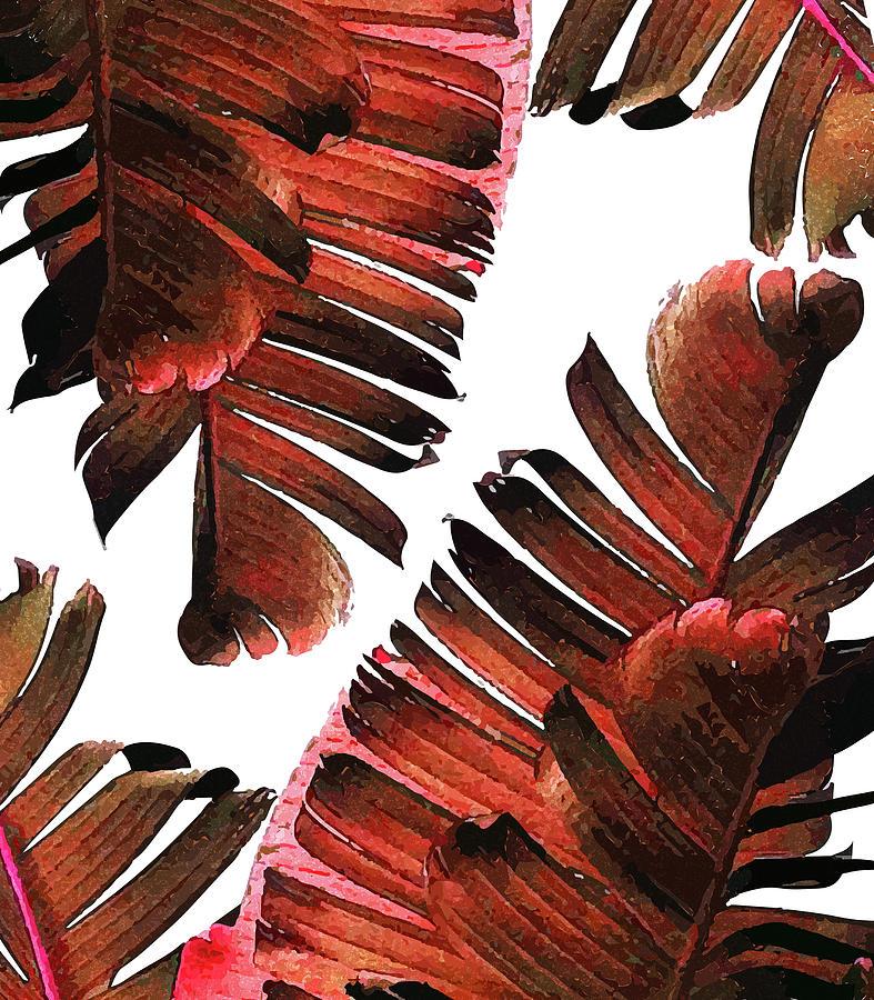 Banana Leaf - Tropical Leaf Print - Botanical Art - Modern Abstract - Brown, Copper, Red Mixed Media