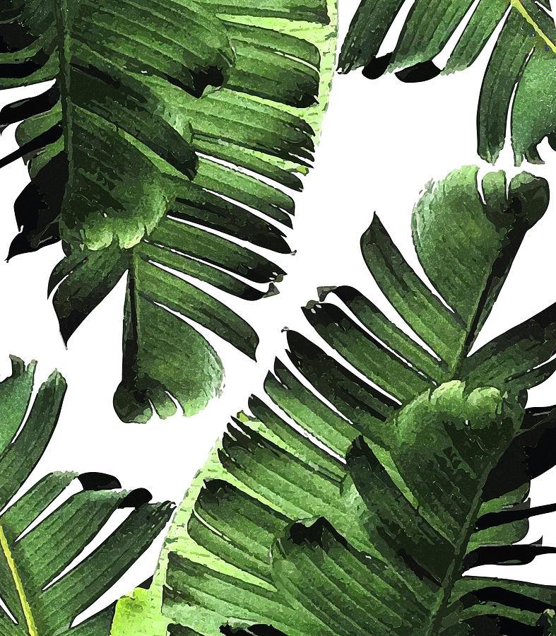 Banana Leaf - Tropical Leaf Print - Botanical Art - Modern Abstract - Green, Olive Mixed Media