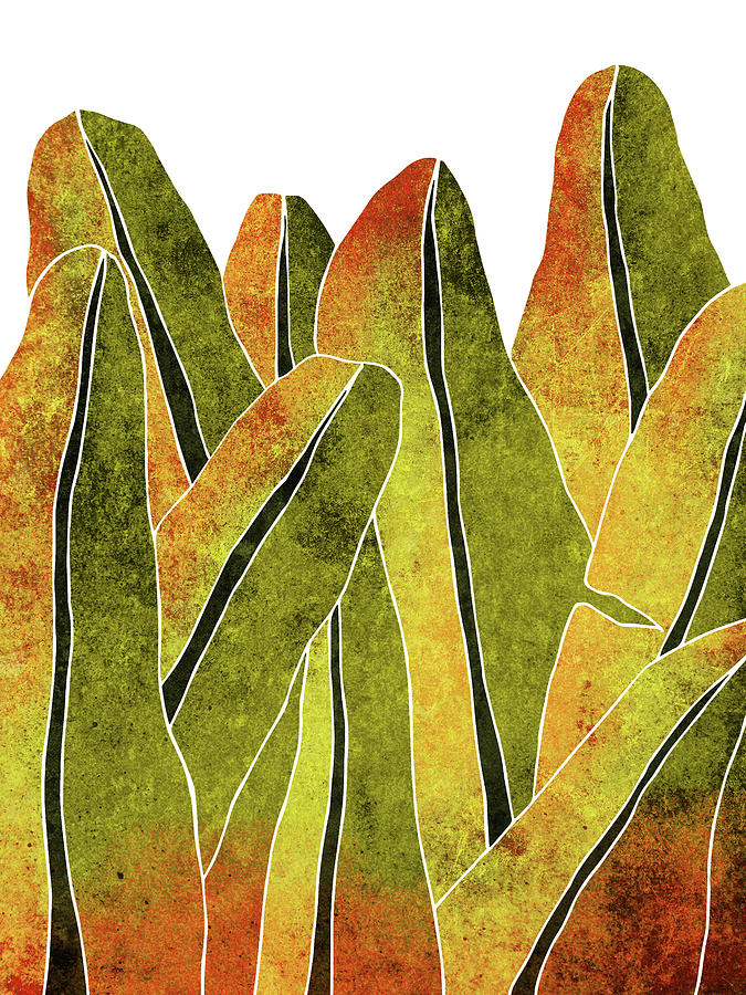 Banana Leaf - Yellow, Brown - Tropical Leaf Print - Botanical Art - Abstract - Modern, Minimal Decor Mixed Media