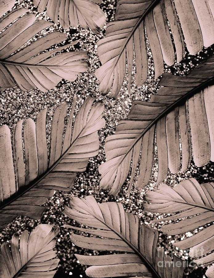 Banana Leaves Glitter Glam 3 Shiny Tropical Decor Art Mixed Media By Anitas And Bellas Art