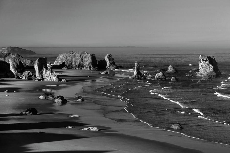 Bandon Beach in Black and White by David Lunde