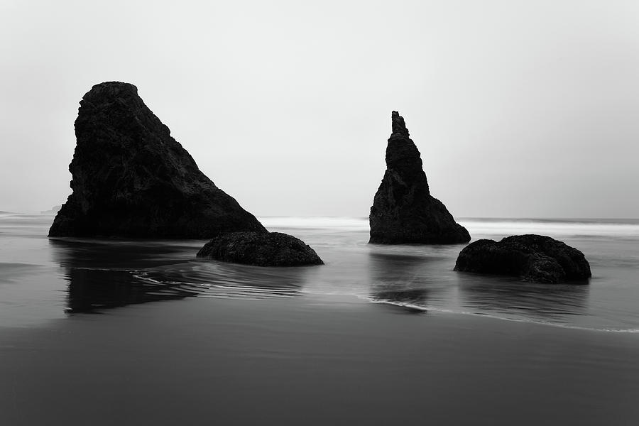 Bandon Beach Oregon BW by Rospotte Photography