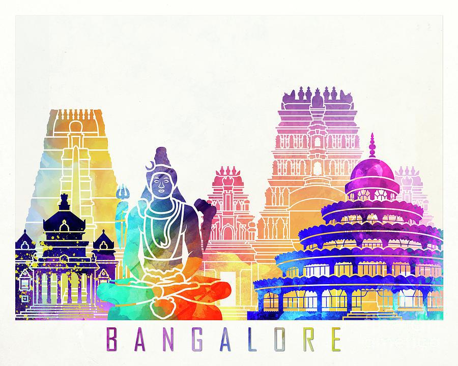 Bangalore landmarks watercolor poster by Pablo Romero