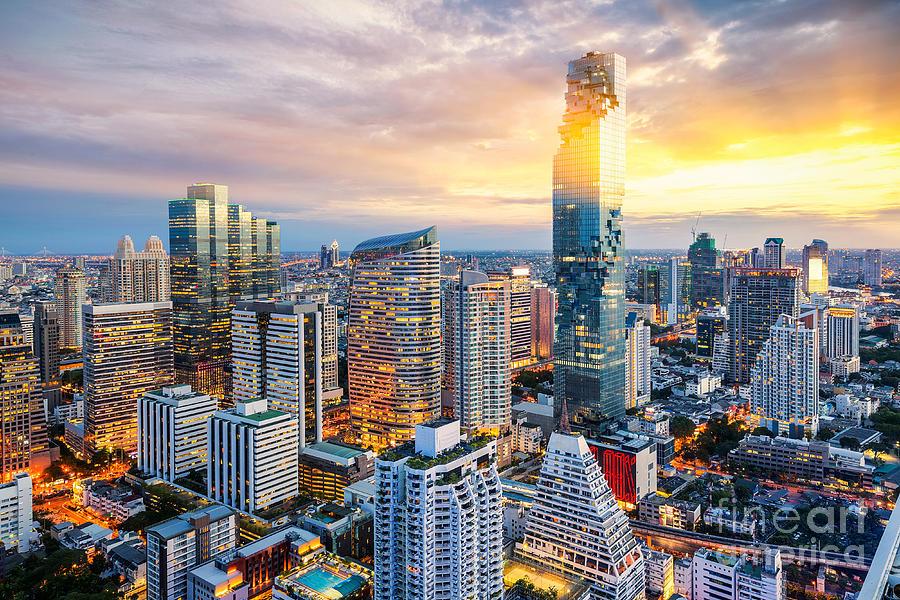 Capital Photograph - Bangkok City At Sunset, Mahanakorn by Anek.soowannaphoom