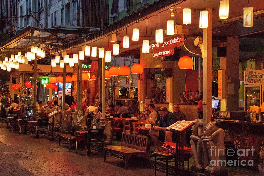 Bangkok Night Street Scene by Bob Phillips