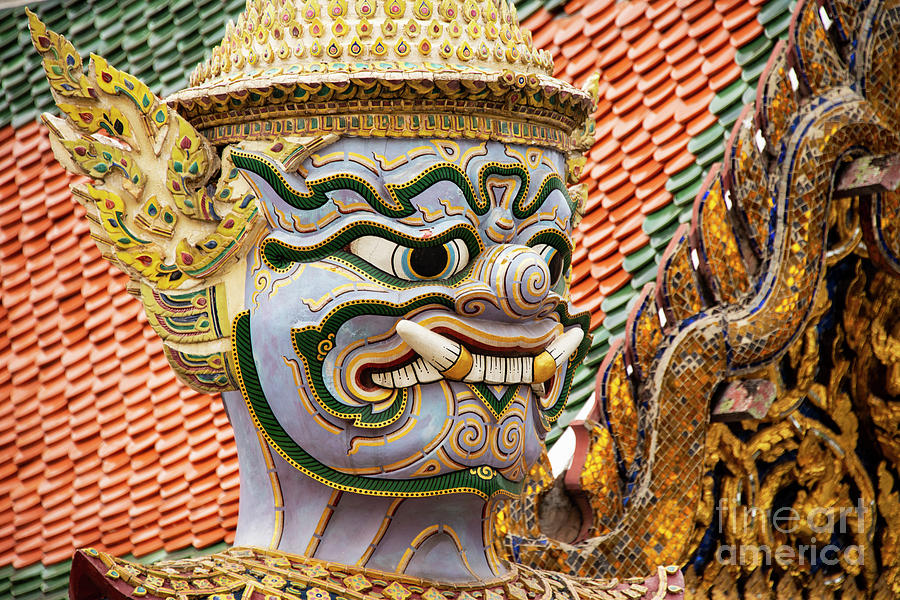Bangkok Palace Blue and White Temple Demon  by Bob Phillips