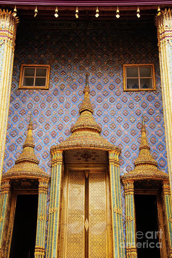 Bangkok Phra Mondo Library Golden Doors One by Bob Phillips