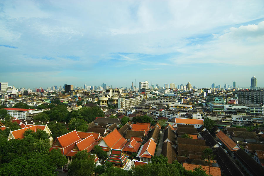 Bangkok View With Temple Roofs 2 Photograph by Sndrk