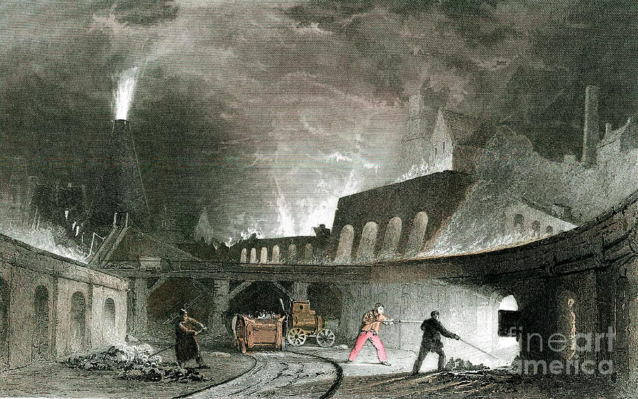 Bank Of Furnaces, Lymington Iron Works Drawing by Print Collector