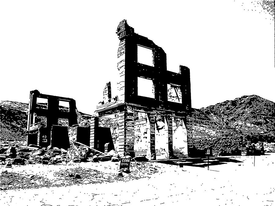 Ghost Town Drawing - Bank Rhyolite Ghost Ghost Nevada by Kevin Heaney