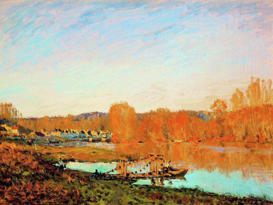 Alfred Sisley Painting - Banks Of The Seine Near Bougival - Digital Remastered Edition by Alfred Sisley