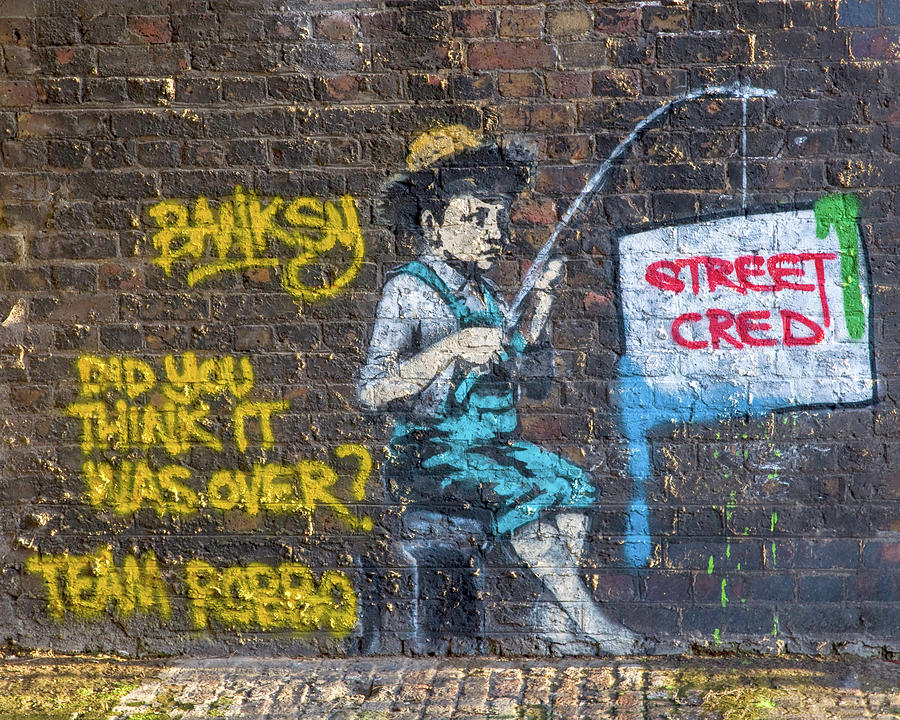 Banksy Boy Fishing Street Cred by Gigi Ebert