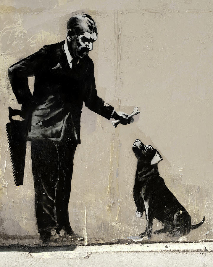 Banksy Paris Man With Bone And Dog by Gigi Ebert