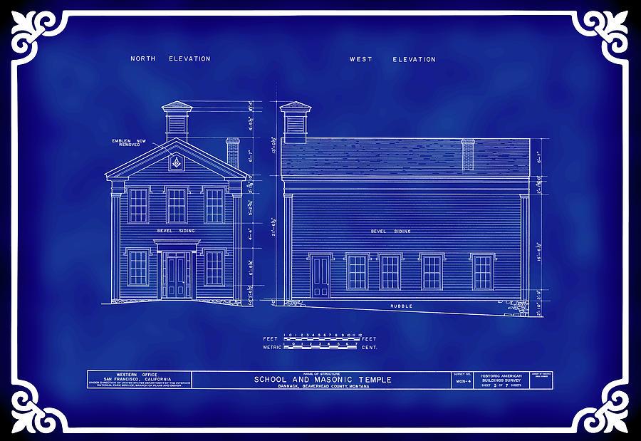 Bannack Digital Art - Bannack Ghost Town Gothic Masonic Temple Blueprint by Daniel Hagerman