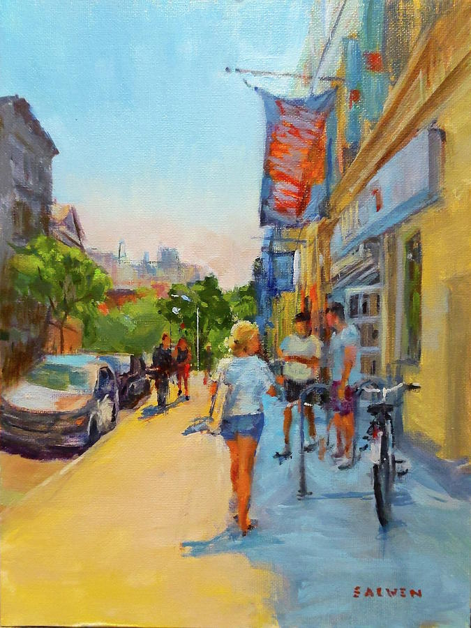 New York Painting - Banners and Shadows by Peter Salwen
