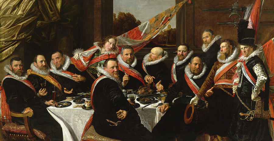 Frans Hals Painting - Banquet Of The Officers Of The St George Civic Guard, 1616 by Frans Hals