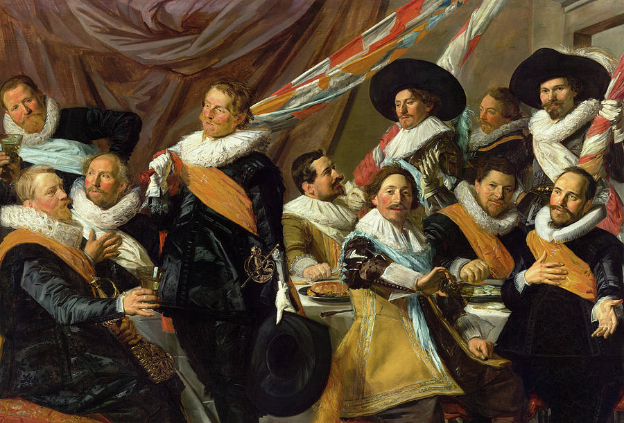 Frans Hals Painting - Banquet Of The Officers Of The St George Civic Guard, 1627 by Frans Hals