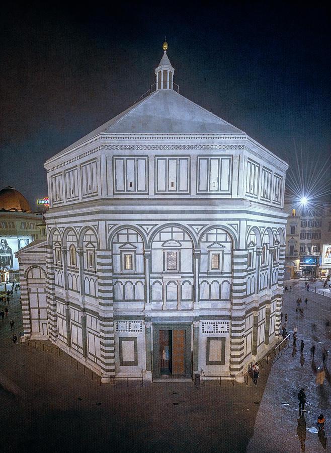 Baptistery Night Florence Italy by Joan Carroll