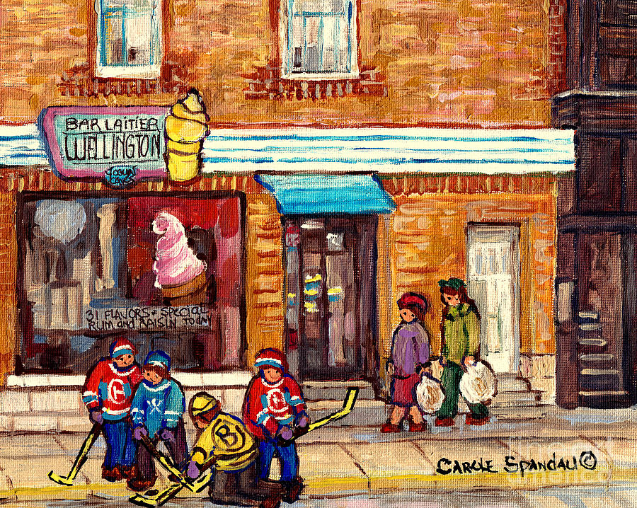 BAR LAITIER WELLINGTON ICE CREAM PARLOR VERDUN STOREFRONT STREET HOCKEY TOURNAMENT C SPANDAU ARTIST by CAROLE SPANDAU