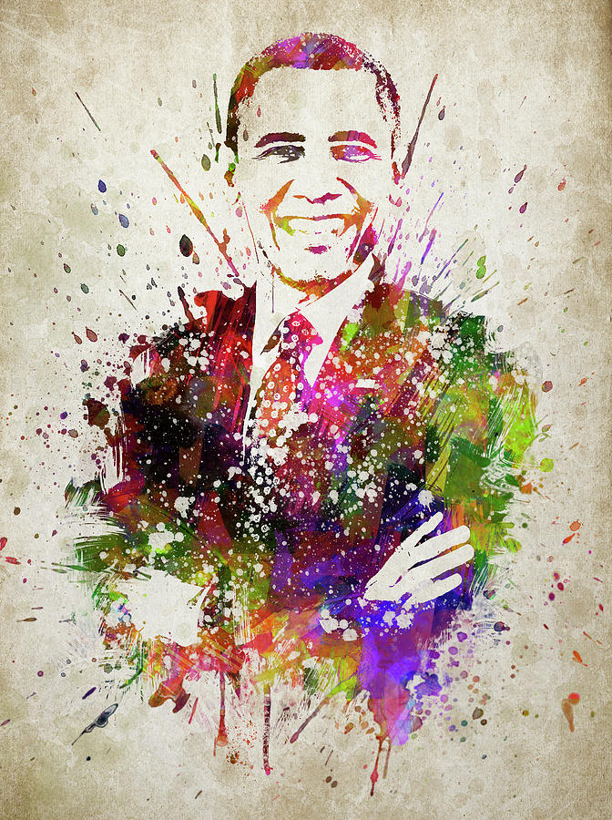 barack obama in color digital art by aged pixel