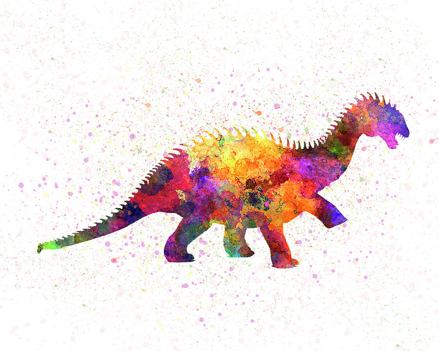 Barapasaurus dinosaur  in watercolor by Pablo Romero