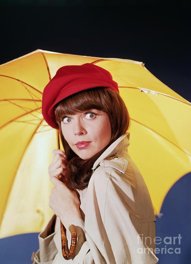 Barbara Feldon Posing With Umbrella Photograph by Bettmann