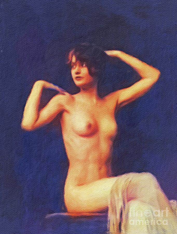 Barbara Painting - Barbara Stanwyck, Vintage Movie Star Nude by Mary Bassett