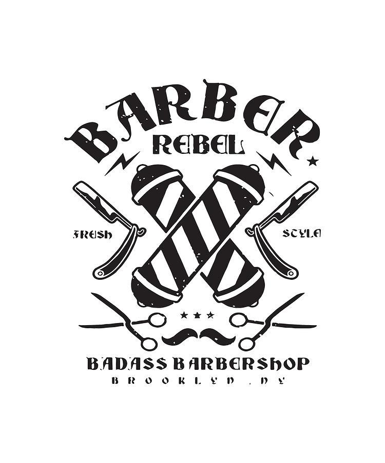 BARBER T SHIRT BADASS REBEL BROOKLYN NEW YORK HAIRDRESSER STYLIST