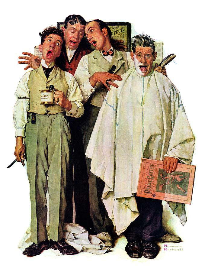 Barbers Drawing - Barbershop Quartet by Norman Rockwell