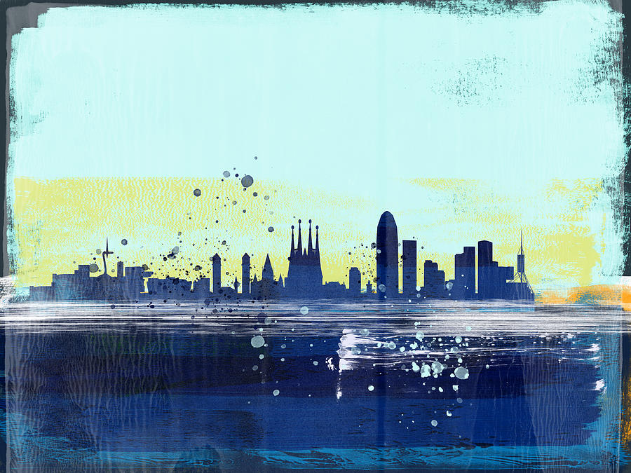 Barcelona Mixed Media - Barcelona Abstract Skyline  by Naxart Studio