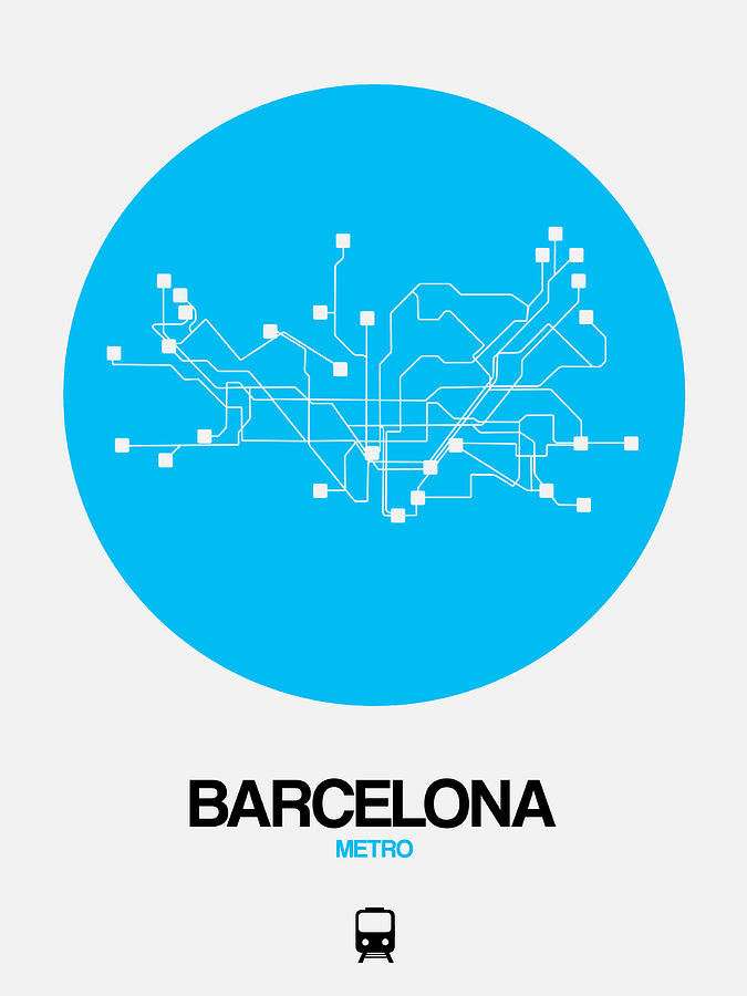 Subway Map Of Barcelona Spain.Barcelona Blue Subway Map By Naxart Studio