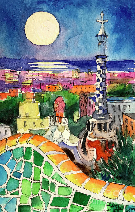 Moon Painting - Barcelona By Moonlight Watercolor Painting By Mona Edulesco by Mona Edulesco