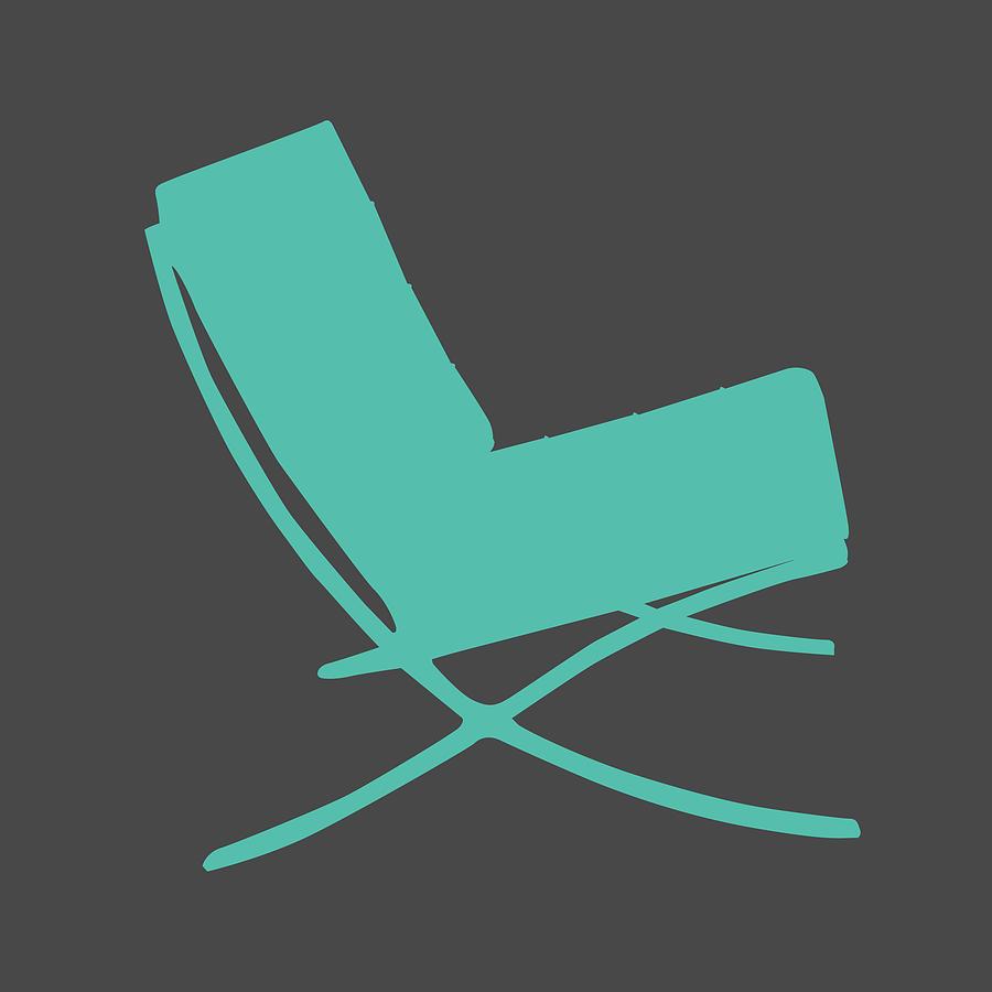 Mid-century Mixed Media - Barcelona Chair Teal by Naxart Studio