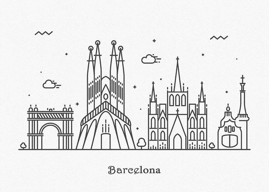 Barcelona Cityscape Travel Poster Drawing By Inspirowl Design